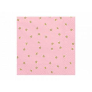 x 20 Serviettes papier rose et étoiles dorées