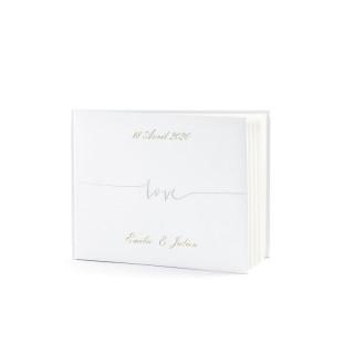 Livre d'or blanc Love argent personnalisé