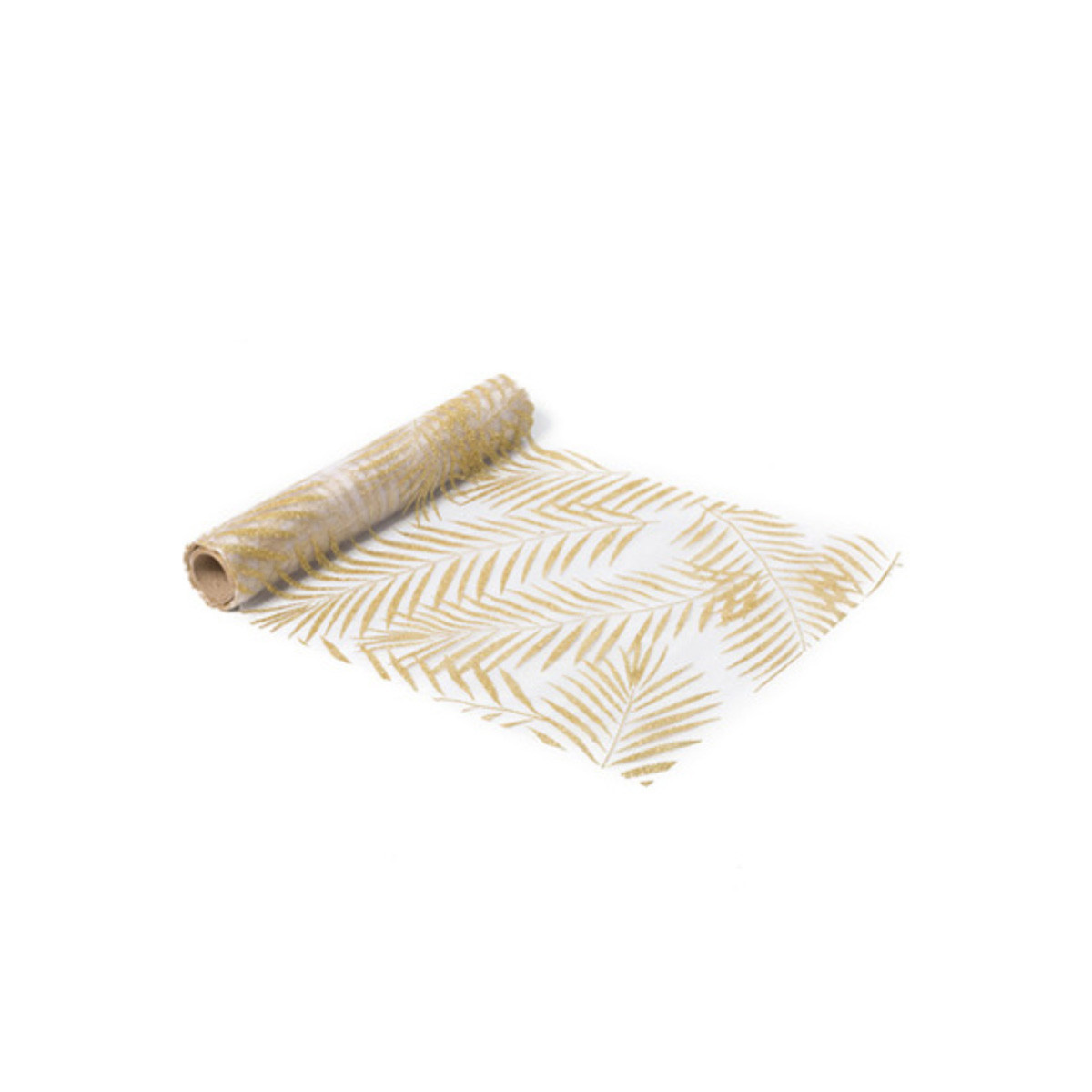 Chemin table Tropical palmier paillette or