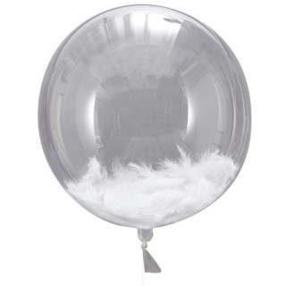 Ballons Transparent & Plume Blanche
