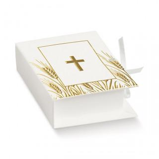 x1 Boite à dragées communion livre blanc et or