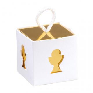 x1 Boite à dragées cube calice blanc et doré