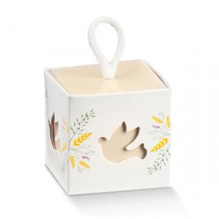 x1 Boite à dragées cube colombe fleurie
