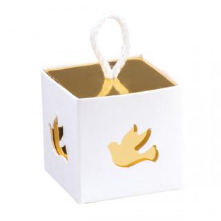 x1 Boite à dragées cube colombe blanc et doré