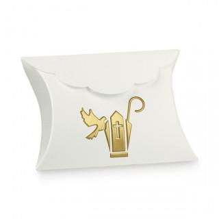 x1 Ballotin à dragées colombe blanc et doré
