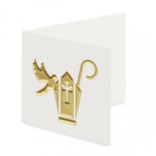 x10 Etiquettes colombe blanche et dorée