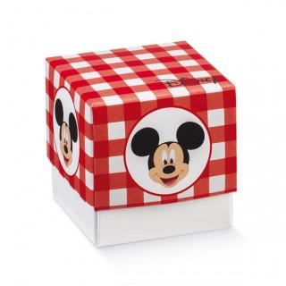 x1 Boite à dragées cube Mickey rouge
