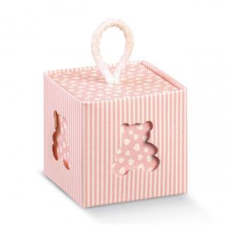 x1 Boite à dragées cube ourson rose