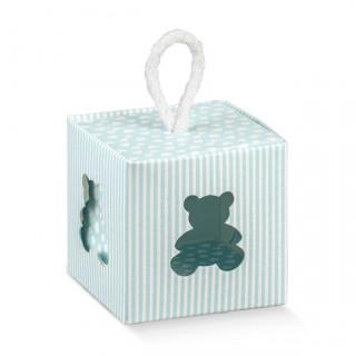 x1 Boite à dragées cube ourson bleu