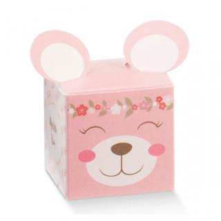 x1 Boite à dragées ourson fleurie rose