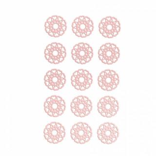 x15 Stickers rond en dentelle rose