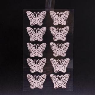x10 Stickers papillon en dentelle rose