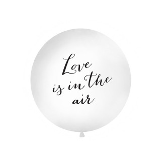 "Ballon géant baudruche ""Love is in the air"" 1m- Blanc et noir"