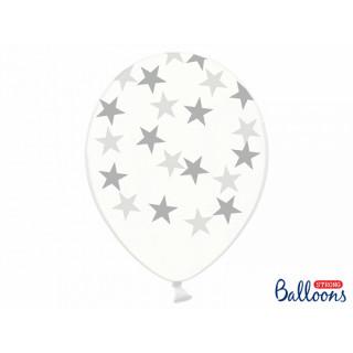 6 x Ballon de baudruche étoile argent