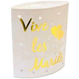 """Photophore Led """"Vive les mariés"""" or"""