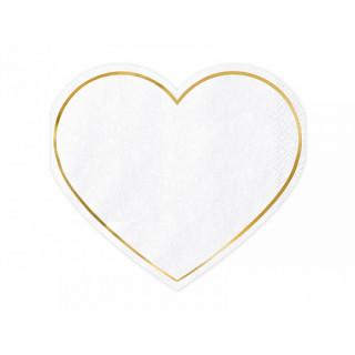 x20 Serviettes coeur blanche et or