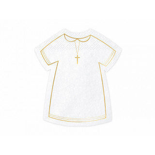 x20 Serviettes communion blanche et or