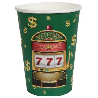 Gobelet casino vert, rouge et or