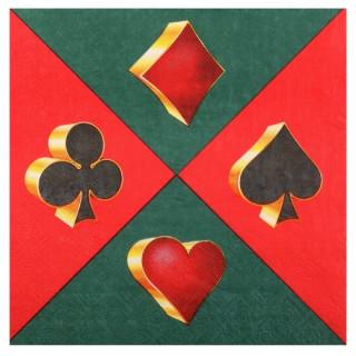 Serviette casino vert, rouge et or