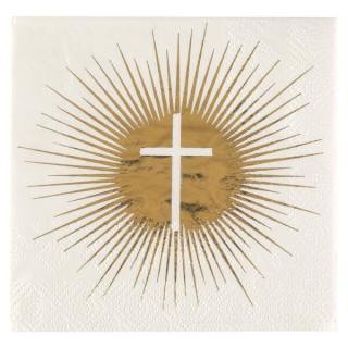 Serviette croix communion blanche et or x20