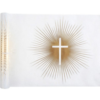 Chemin de Table croix communion blanc et or