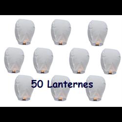 50 Lanternes Volantes Blanche