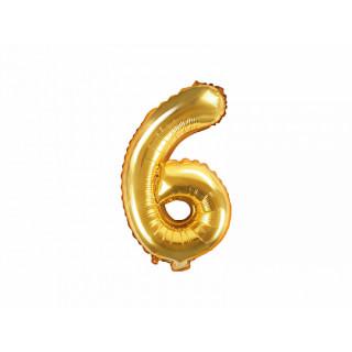 Ballon chiffre 6 or