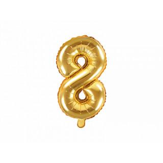 Ballon chiffre 8 or