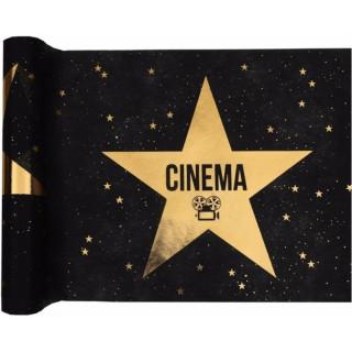 Chemin de table Cinéma noir étoile or
