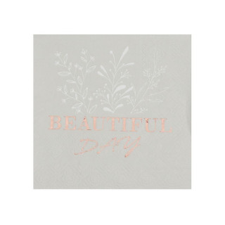 Serviette Beautiful Day lin et rose gold