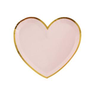 Assiette coeur rose et or