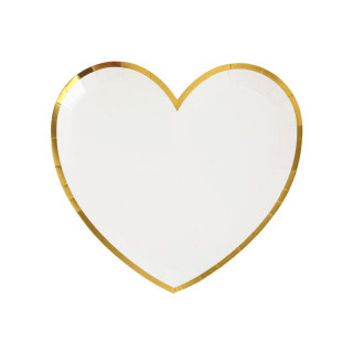 Assiette coeur blanche or