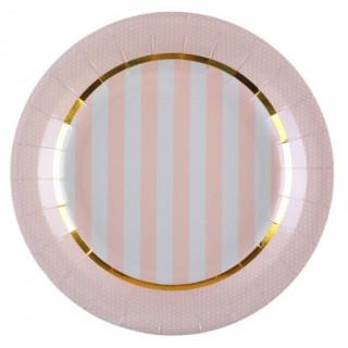 Assiette rayée rose et blanc liseré or