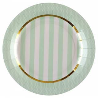 Assiette rayée vert et blanc liseré or