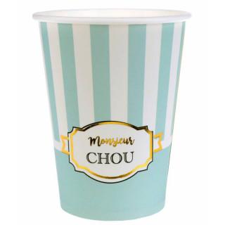 Gobelet rayé vert et blanc Monsieur Chou