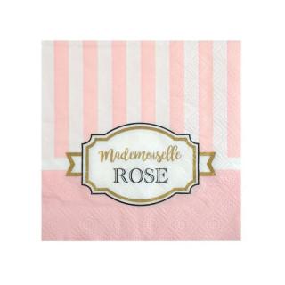 Serviette rayée rose et blanc Mademoiselle Rose