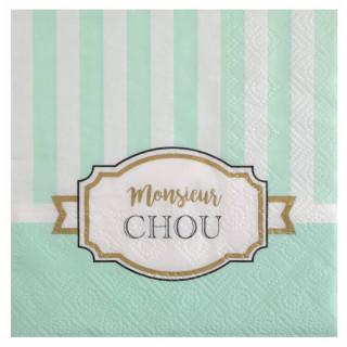 Serviette rayée verte et blanche Monsieur Chou
