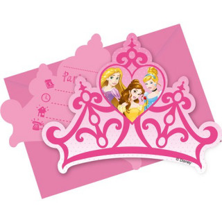 x6 Invitations + enveloppes Princesses Disney