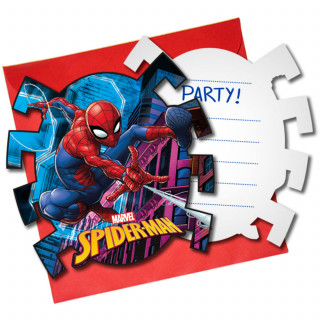 x6 Invitations + enveloppes Spiderman