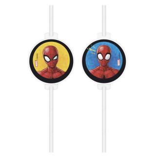 x4 Pailles Spiderman