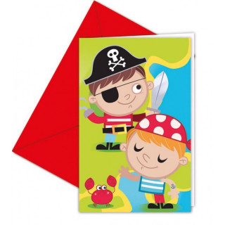 x6 Invitations + enveloppes Pirate