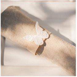 Rond de serviette papillon dentelle x 12