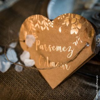boite coeur kraft et bronze