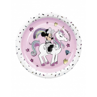 assiettes minnie licorne metallic x8