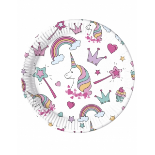 assiettes licorne party x8