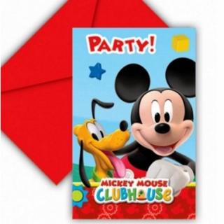 invitations + enveloppes mickey x6