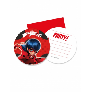 invitations + enveloppes miraculous ladybug x6