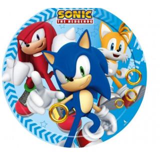 8 assiettes anniversaire Sonic 18 cm