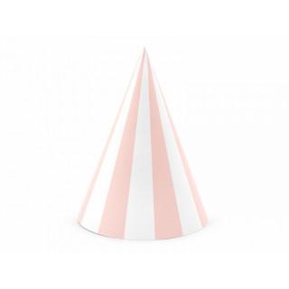 chapeau anniversaire rose et blanc x6