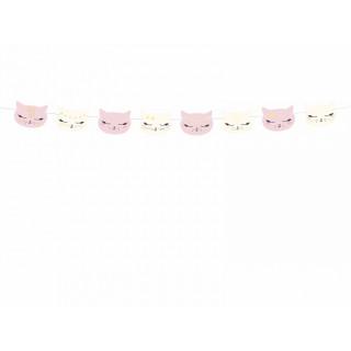 Guirlande anniversaire chat rose